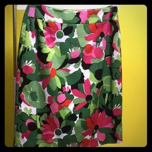 Talbots bright pink and green floral lined skirt